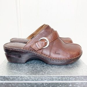Boc Born Concepts brown leather buckle clogs